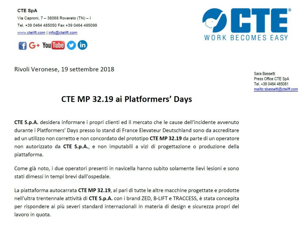 COMUNICATO - CTE AI PLATFORMERS DAYS - Sollevare - - Aziende Fiere News